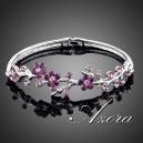 Luxusní stříbrný náramek květiny růžový krystal