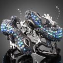 Luxusní stříbrný náramek, modrý Swarovski krystal, ještěrka