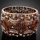Luxusní zlatý masivní antický náramek, hnědý Swarovski krystal