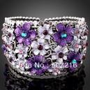 Luxusní stříbrný masivní náramek, fialové květiny s krystaly
