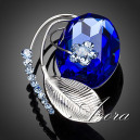 Luxusní módní brož - list a velký modrýl Swarovski krystal
