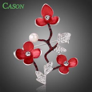 Luxusní módní brož - třešňový květ Swarovski krystal