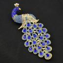 Luxusní módní brož - páv, safír Swarovski krystal