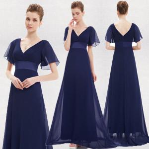 Okouzlující společenské, dlouhé dámské šaty s rukávky - modré navy, vel. 42
