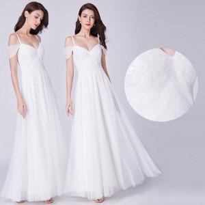 Svatební, společenské bílé dlouhé šaty vyšívané - vel. 38