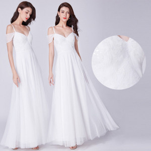 Svatební, společenské bílé dlouhé šaty vyšívané