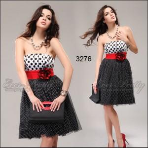 Sexy krátké retro puntíkové šaty s květinou Ever Pretty 3276