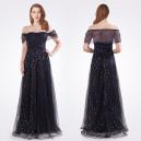 Dámské večerní třpytivé černé šaty - noční obloha