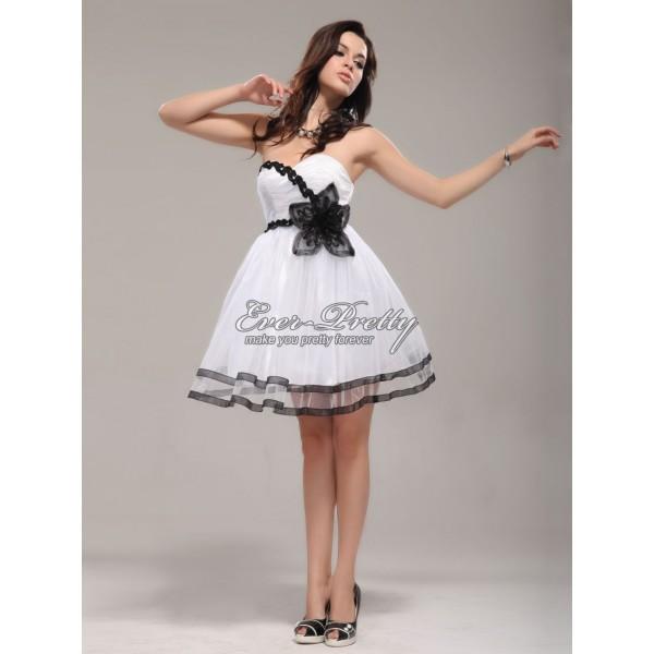 Nebesky krásné bílé šaty s květinou Ever Pretty 03287 - Angel fashion 8e0199ae98