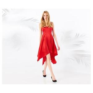Dámské červené, lesklé saténové asymetrické večerní šaty