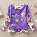 Dětské dívčí tričko vyšívané s motýlky a kamínky fialové