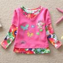 Dětské, dívčí tričko vyšívané s motýlky a kamínky růžové