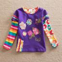 Dětské, dívčí tričko vyšívané s kytičkami a kamínky fialové