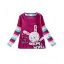 Dětské, dívčí tričko vyšívané fialové s králíčkem