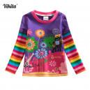 Dětské, dívčí tričko vyšívané barevné, kytičkové