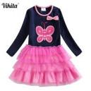 Dívčí šaty, tunika s tutu sukýnkou motýlek navy modrá