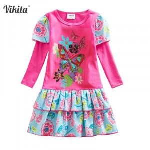Dětské dívčí šaty, tunika s dlouhým rukávem modrá s květinou barevná s motýlem