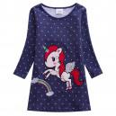 Dětské dívčí šaty, tunika  modrá s puntíky a jenorožcem
