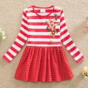 Dětské dívčí šaty, tunika s dlouhým rukávem červená s puntíky