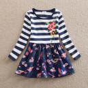 Dětské dívčí šaty, tunika s dlouhým rukávem modrá s ptáčky