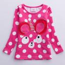 Dětské, dívčí tričko s puntíky růžové s 3D myškou