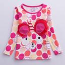 Dětské, dívčí tričko s puntíky barevné s 3D myškou