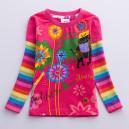 Dětské, dívčí tričko vyšívané barevné, kytičkové růžové