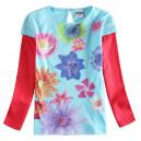 Dětské, dívčí tričko modré s kamínky a kytičkami
