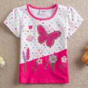 Dětské, dívčí tričko krátký rukáv růžové s kytičkami a motýlkem