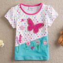 Dětské, dívčí tričko krátký rukáv tyrkysové s kytičkami a motýlkem