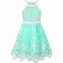 Dětské slavnostní šaty zelené, vyšívané s motýlky