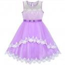 Dětské, dívčí společenské šaty, šaty pro družičku s krajkou fialové