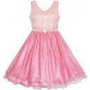 Dětské, dívčí společenské šaty, slavnostní perleťové šaty - růžové