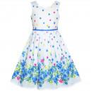 Dětské, dívčí letní šaty bílé s modrými kytičkami