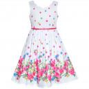 Dětské, dívčí letní šaty bílé s růžovými kytičkami