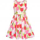 Dětské, dívčí letní šaty barevné s potiskem tulipánů