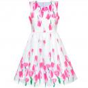 Dětské, dívčí letní šaty bílé s potiskem tulipánů