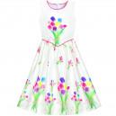 Dětské, dívčí letní šaty bílé s pestrými tulipány