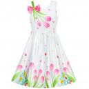 Dětské, dívčí letní šaty bílé 3D růžové tulipány