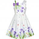 Dětské, dívčí letní šaty bílé 3D fialové tulipány