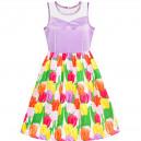 Dětské, dívčí letní šaty fialové s barevnými tulipány