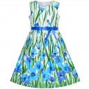 Dětské, dívčí letní šaty s potiskem modrých květin
