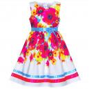 Dětské, dívčí letní šaty bílé s barevnými květinami