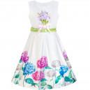 Dětské, dívčí letní šaty bílé s pestrými hortenziemi