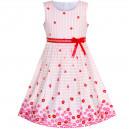 Dětské, dívčí letní šaty jemně růžové proužkované s kytičkami