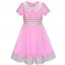 Dětské, dívčí letní šaty růžové s rukávky a výšivkou květin