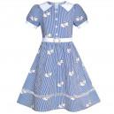 Dívčí šaty s rukávky ve stylu školní uniformy, modré proužkové s labutěmi