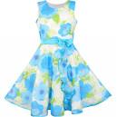 Dětské, dívčí letní šaty jemně modré květové