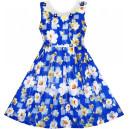 Dětské, dívčí letní šaty modré květinové s perličkami