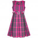 Dětské, dívčí šaty ve stylu školní uniformy - sytě růžové